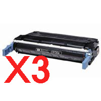 3 x Compatible HP C9720A Black Toner Cartridge 641A