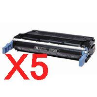 5 x Compatible HP C9720A Black Toner Cartridge 641A