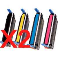 2 Lots of 4 Pack Compatible HP C9730A C9731A C9732A C9733A Toner Cartridge Set 645A