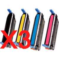 3 Lots of 4 Pack Compatible HP C9730A C9731A C9732A C9733A Toner Cartridge Set 645A