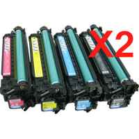 2 Lots of 4 Pack Compatible HP CE250X CE251A CE252A CE253A Toner Cartridge Set 504X 504A