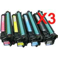 3 Lots of 4 Pack Compatible HP CE250X CE251A CE252A CE253A Toner Cartridge Set 504X 504A