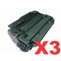 3 x Compatible HP CE255A Toner Cartridge 55A