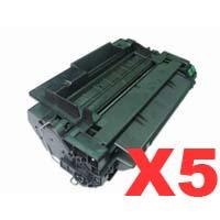 5 x Compatible HP CE255X Toner Cartridge 55X