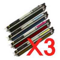 3 Lots of 4 Pack Compatible HP CE310A CE311A CE312A CE313A Toner Cartridge Set 126A