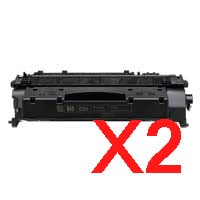 2 x Compatible HP CE505X Toner Cartridge 05X