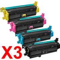 3 Lots of 4 Pack Compatible HP CF360X CF361X CF363X CF362X Toner Cartridge Set 508X