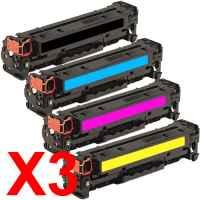 3 Lots of 4 Pack Compatible HP CF400X CF401X CF403X CF402X Toner Cartridge Set 201X