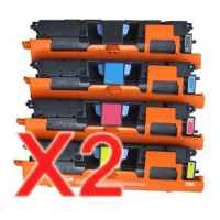 2 Lots of 4 Pack Compatible HP Q3960A Q3961A Q3962A Q3963A Toner Cartridge Set 122A