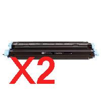 2 x Compatible HP Q6000A Black Toner Cartridge 124A