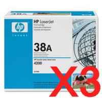 3 x Genuine HP Q1338A Toner Cartridge 38A