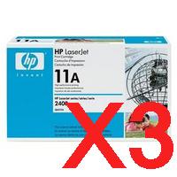 3 x Genuine HP Q6511A Toner Cartridge 11A