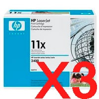 3 x Genuine HP Q6511X Toner Cartridge 11X