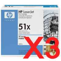3 x Genuine HP Q7551X Toner Cartridge 51X