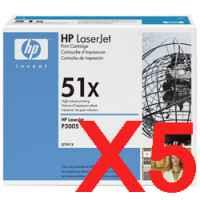 5 x Genuine HP Q7551X Toner Cartridge 51X