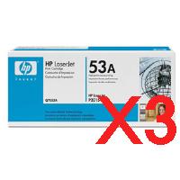 3 x Genuine HP Q7553A Toner Cartridge 53A