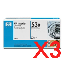 3 x Genuine HP Q7553X Toner Cartridge 53X