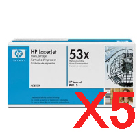 5 x Genuine HP Q7553X Toner Cartridge 53X