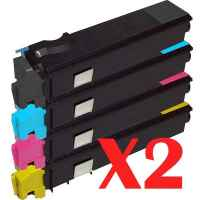2 Lot of 4 Pack Non-Genuine TK-554 Toner Cartridge Set for Kyocera FS-C5200DN