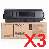 3 x Genuine Kyocera TK-18H Toner Cartridge FS-1020D FS-1118MFP