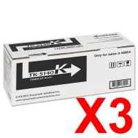 3 x Genuine Kyocera TK-5164K Black Toner Cartridge P7040