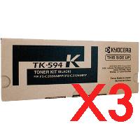 3 x Genuine Kyocera TK-594K Black Toner Cartridge FS-C2026MFP FS-C2526MFP