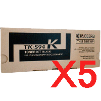 5 x Genuine Kyocera TK-594K Black Toner Cartridge FS-C2026MFP FS-C2526MFP