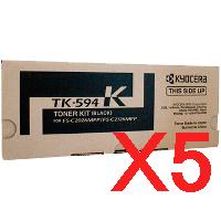 5 x Genuine Kyocera TK-594K Black Toner Cartridge FS-C2026MFP FS-C2526MFP