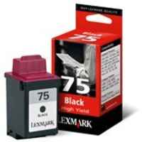 1 x Genuine Lexmark #75 Black Ink Cartridge High Yield 12A1975