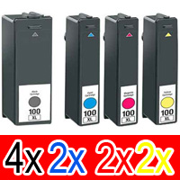 10 Pack Compatible Lexmark #100XL Ink Cartridge Set High Yield (4BK,2C,2M,2Y) 14N1069A 14N1070A 14N1071A 14N1068A