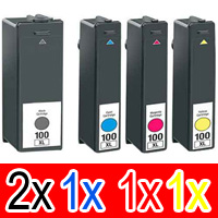 5 Pack Compatible Lexmark #100XL Ink Cartridge Set High Yield (2BK,1C,1M,1Y) 14N1069A 14N1070A 14N1071A 14N1068A