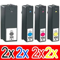 8 Pack Compatible Lexmark #100XL Ink Cartridge Set High Yield (2BK,2C,2M,2Y) 14N1069A 14N1070A 14N1071A 14N1068A