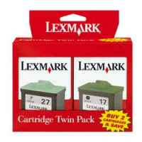 1 x Genuine Lexmark #17 #27 Black & Colour Ink Cartridge Twin Pack TPANZ02