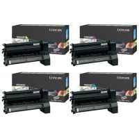 4 Pack Genuine Lexmark C752 C760 C762 X762 Toner Cartridge Set High Yield Return Program