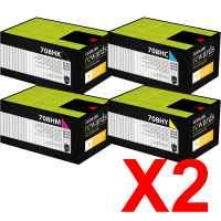 2 Lots of 4 Pack Genuine Lexmark CS310 CS410 CS510 708HK/C/M/Y Toner Cartridge Set High Yield Return Program