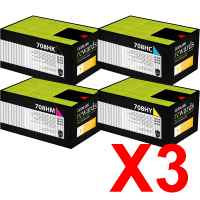 3 Lots of 4 Pack Genuine Lexmark CS310 CS410 CS510 708HK/C/M/Y Toner Cartridge Set High Yield Return Program