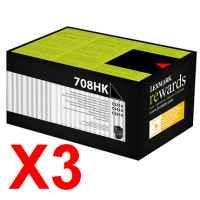 3 x Genuine Lexmark CS310 CS410 CS510 708HK Black Black Toner Cartridge High Yield Return Program