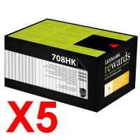 5 x Genuine Lexmark CS310 CS410 CS510 708HK Black Toner Cartridge High Yield Return Program
