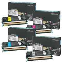 4 Pack Genuine Lexmark C522 C524 C532 C534 Toner Cartridge Set Standard Yield Return Program