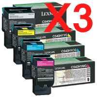 3 Lots of 4 Pack Genuine Lexmark C540 C543 C544 C546 X543 X544 X546 X548 Toner Cartridge Set High Yield Return Program