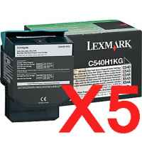 5 x Genuine Lexmark C540 C543 C544 C546 X543 X544 X546 X548 Black Toner Cartridge High Yield Return Program