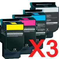 3 Lots of 4 Pack Compatible Lexmark C540 C543 C544 C546 X544 X546 Toner Cartridge Set High Yield C540H1KG C540H1CG C540H1MG C540H1YG