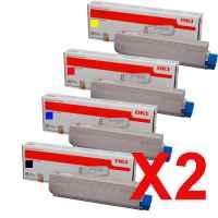 2 Lots of 4 Pack Genuine OKI C5800 C5900 C5550 Toner Cartridge Set