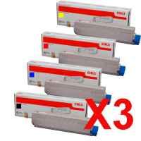 3 Lots of 4 Pack Genuine OKI C3300 C3400 C3600 Toner Cartridge Set
