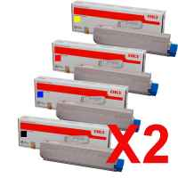 2 Lots of 4 Pack Genuine OKI C3520 C3530 Toner Cartridge Set