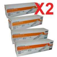 2 Lots of 4 Pack Genuine OKI C110 C130 MC160 Toner Cartridge Set High Yield