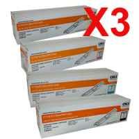 3 Lots of 4 Pack Genuine OKI C110 C130 MC160 Toner Cartridge Set High Yield