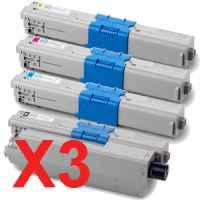 3 Lots of 4 Pack Compatible OKI C510 C530 MC561 Toner Cartridge Set