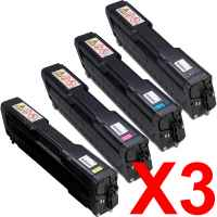 3 Lots of 4 Pack Compatible Ricoh Aficio SP-C220 SP-C221 SP-C222 SP-C240 Toner Cartridge Set