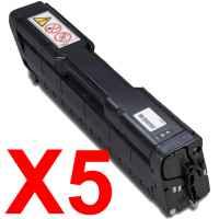 5 x Compatible Ricoh Aficio SP-C220 SP-C221 SP-C222 SP-C240 Black Toner Cartridge TYPE-SPC220B